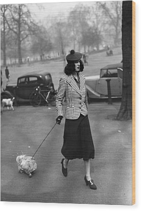 Walking The Dog Wood Print by H F Davis