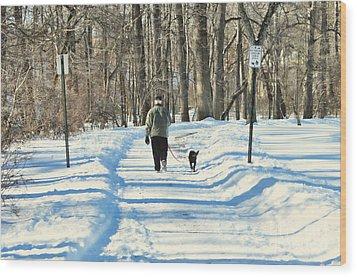 Walking The Dog Wood Print by Paul Ward