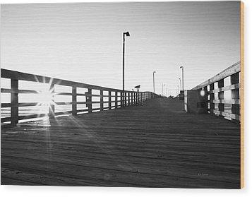 Walking The Planks Sunrise Wood Print by Betsy Knapp