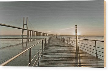 Walkway And Bridge Wood Print by Landscape photography