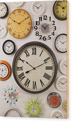 Wall Clocks Wood Print by Garry Gay