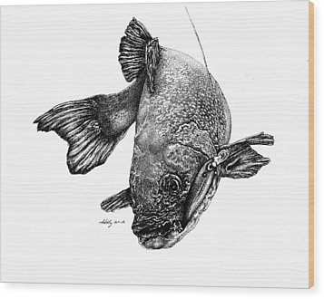 Walleye Wood Print by Kathleen Kelly Thompson