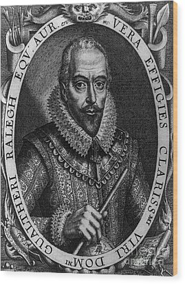 Walter Raleigh, English Courtier Wood Print by Photo Researchers