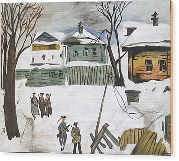 War Affected Village - Water Colouring Wood Print by Rejeena Niaz