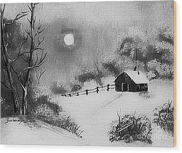 Warm Day  B And W Wood Print by Barbara Griffin