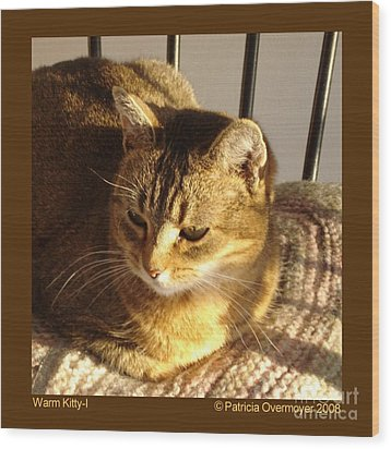 Warm Kitty-i Wood Print by Patricia Overmoyer