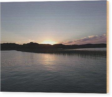Warm Sunshine Lake Wood Print by Brian  Maloney