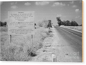 warning road sign warning of the border of the turkish military controlled area of the SBA Sovereign Wood Print by Joe Fox