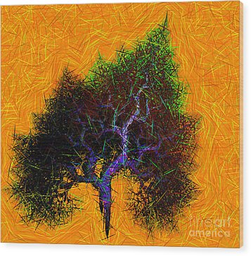 Was A Crooked Tree  Grunge Art Wood Print by Richard Ortolano