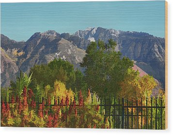 Wasatch Mountains In Autumn Painting Wood Print by Tracie Kaska