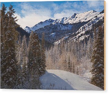 Wasatch Mountains In Winter Wood Print by Utah Images