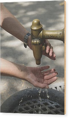 Washing Hands Wood Print by Matthias Hauser