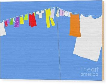 Wood Print featuring the digital art Washing Line Simplified Edition by Barbara Moignard