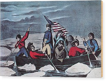 Washington Crossing The Delaware, 1776 Wood Print by Photo Researchers