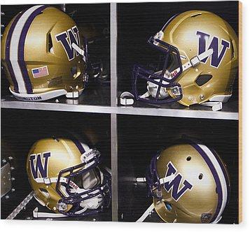 Washington Huskies Football Helmets  Wood Print by Replay Photos