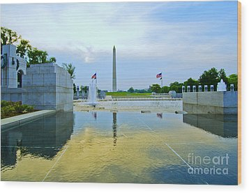 Washington Monument And The World War II Memorial Wood Print by Jim Moore
