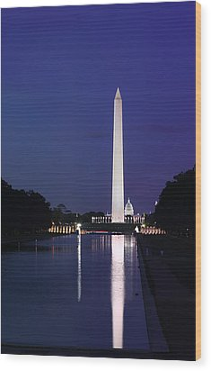 Wood Print featuring the photograph Washington Monument At Sunset by Metro DC Photography