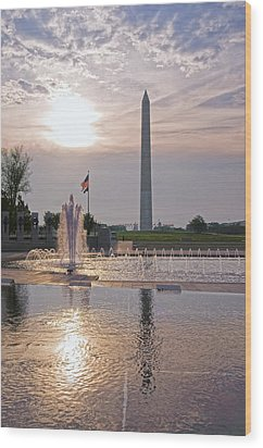 Washington Monument From The World War II Memorial Wood Print by Jim Moore