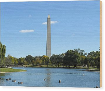 Washington Monument In Summer Wood Print by