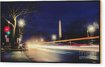 Washington Monument On A Rainy Rush Hour Wood Print