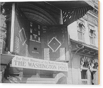 Washington Post Sponsored Scoreboard Wood Print by Everett