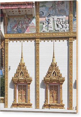 Wat Kan Luang Ubosot Windows Dthu189 Wood Print by Gerry Gantt