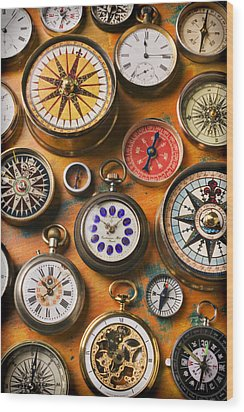 Watches And Compasses  Wood Print by Garry Gay