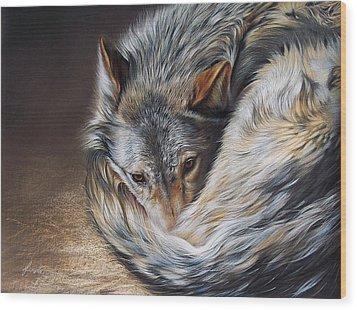 Watchful Rest Wood Print by Elena Kolotusha