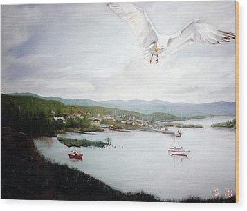 Watching Over  Rossport Wood Print by Joyce Reid