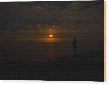 Watching The Sunset Wood Print by Paul Howarth
