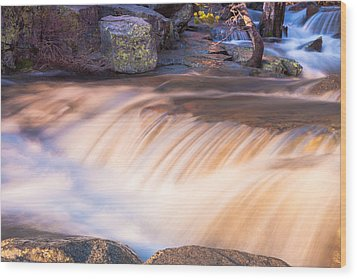 Water And Rocks Wood Print by Marc Crumpler