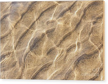 Water And Sand Ripples Wood Print by Elena Elisseeva