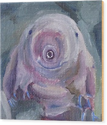 Wood Print featuring the painting Water Bear by Jessmyne Stephenson
