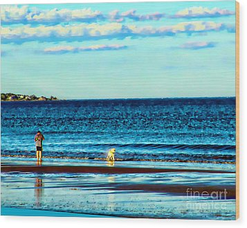 Water Dog From Dog Park Beach Series Wood Print by Alene Sirott-Cope
