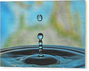 Water Drop 2 Wood Print by Donna Caplinger
