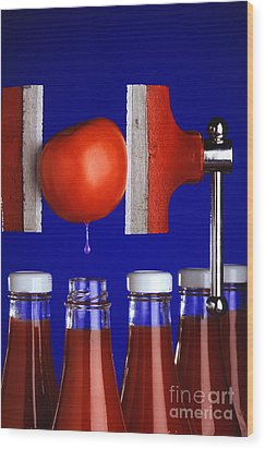 Water Extraction From Tomato Wood Print by Photo Researchers