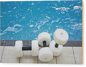 Water Floats At Poolside Wood Print by Marlene Ford