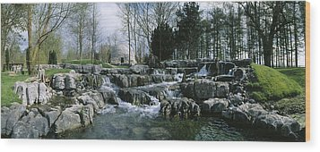 Water Flowing In A Garden, St. Fiachras Wood Print by The Irish Image Collection