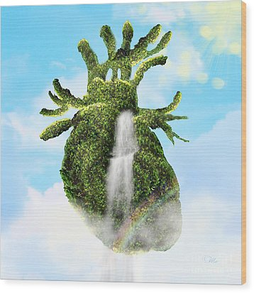 Water From The Heart Wood Print by Mo T