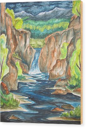 Wood Print featuring the painting Water From The Rockies by Cheryl Pettigrew