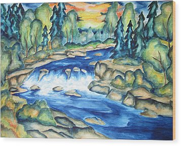 Wood Print featuring the painting Water In The Gunnison Valley by Cheryl Pettigrew