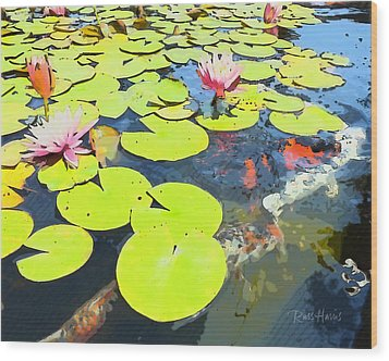 Water Lilies And Koi Wood Print by Russ Harris