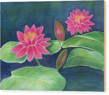 Water Lilies  Wood Print by Jeanne Kay Juhos