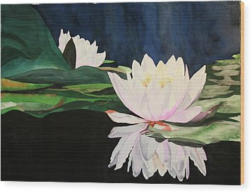 Wood Print featuring the painting Water Lillies by Teresa Beyer