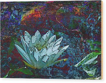 Water Lily Abstract Wood Print by Phyllis Denton