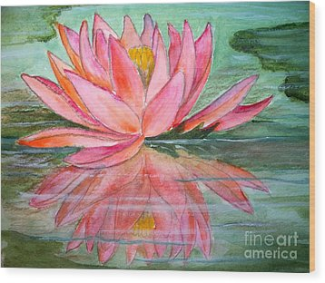 Water Lily Wood Print by Carol Grimes