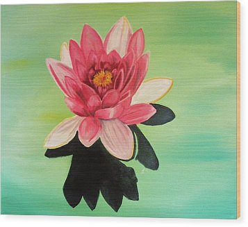 Water Lily Wood Print by Laura Evans