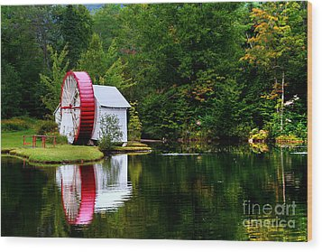 Water Mill Wood Print by Adrian LaRoque