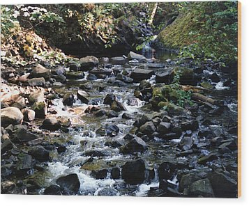 Water Over Rocks Wood Print by Maureen E Ritter