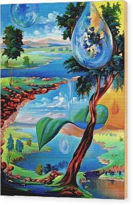 Water Planet Wood Print by Leomariano artist BRASIL